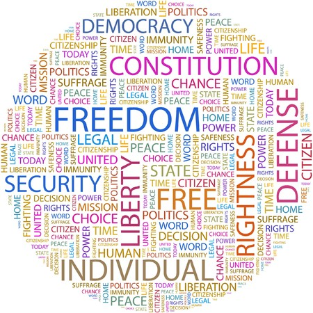 FREEDOM. Word collage on white background.  Stock Vector - 7066452
