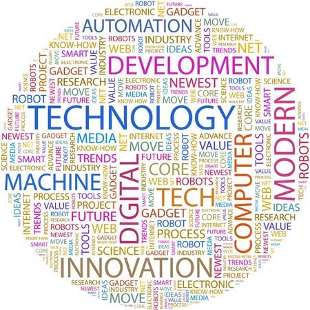 wort collage: TECHNOLOGIE. Wort Collage auf wei�em Hintergrund.  Illustration