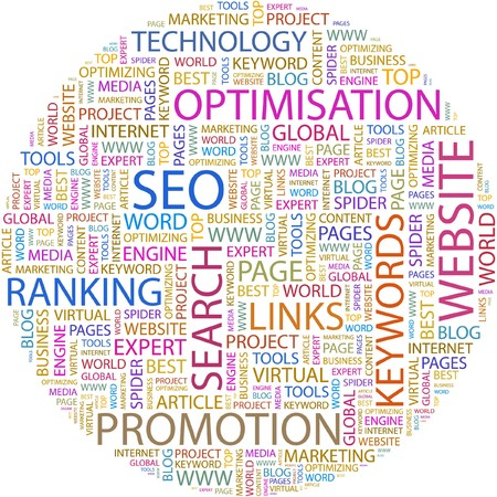 an article: SEO. Word collage on white background.  Illustration