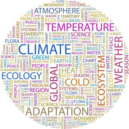 diversity of the region: CLIMATE. Word collage on white background.