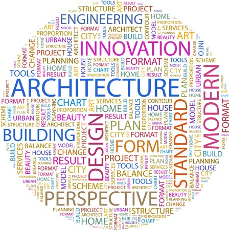 postmodern: ARCHITECTURE. Word collage on white background.