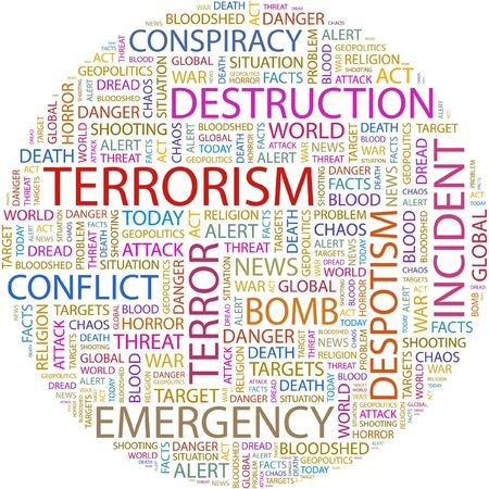 TERRORISM. Word collage on white background. Vector