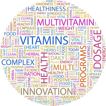 hardiness: VITAMINS. Word collage on white background.