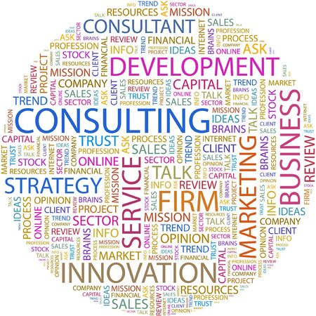 CONSULTING. Word collage on white background.  Vector