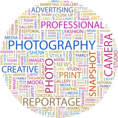 reportage: PHOTOGRAPHY. Word collage on white background.