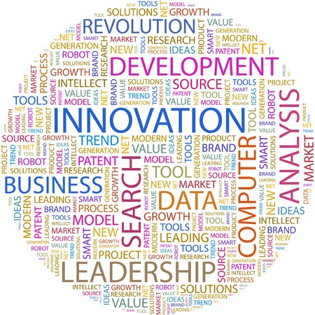 wordcloud: INNOVATION. Word collage on white background.