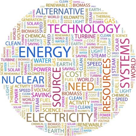 turbina de vapor: ENERG�A. Palabra collage sobre fondo blanco.