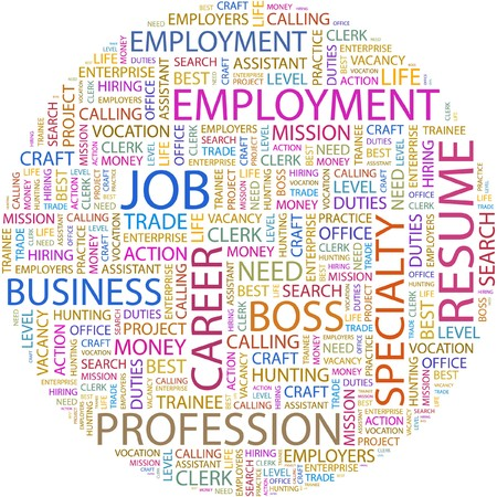 job functions: JOB. Word collage on white background.