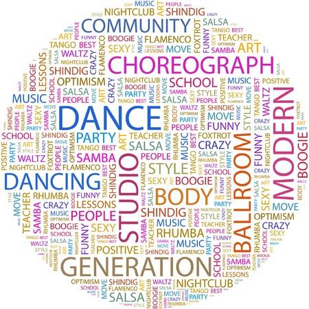サルサ: ダンス。白い背景の上の単語のコラージュ。  イラスト・ベクター素材