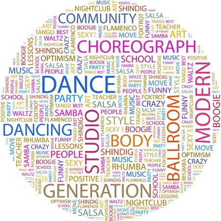 ballroom dance: DANCE. Word collage on white background.  Illustration
