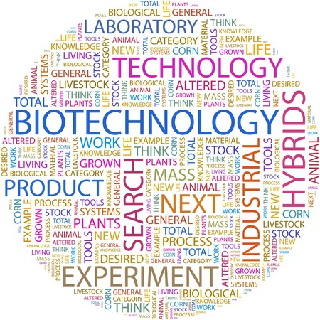 BIOTECHNOLOGY. Word collage on white background. Vector
