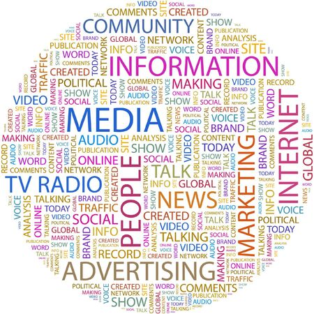 MEDIA. Word collage on white background.  Vector