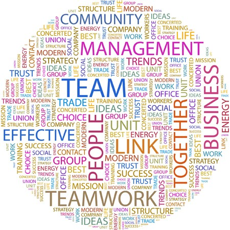 teamwork together: TEAM. Word collage on white background. Illustration