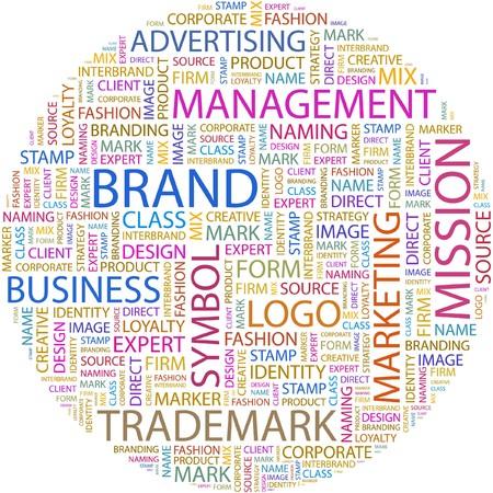 interbrand: BRAND. Word collage on white background.  Illustration