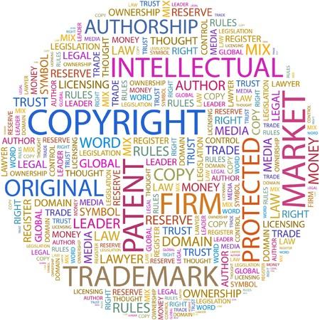 intellect: COPYRIGHT. Collage di parola su sfondo bianco.  Vettoriali