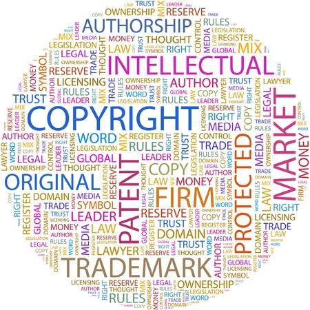 trademark: COPYRIGHT. Word collage on white background.