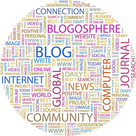blogosphere: BLOG. Word collage on white background.