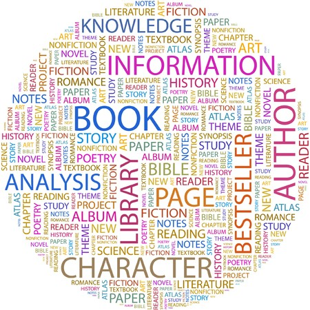 bibliography: BOOK. Word collage on white background.