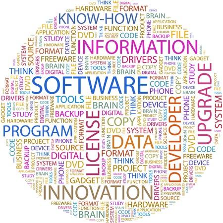 SOFTWARE. Word collage on white background. Ilustração