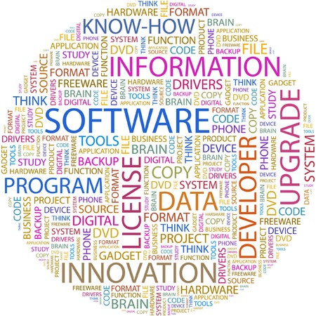 product development: SOFTWARE. Word collage on white background. Illustration