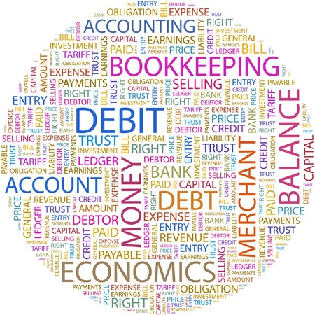 accounts payable: DEBIT. Word collage on white background.