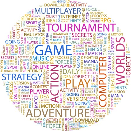 mania: GAME. Word collage on white background.  Illustration