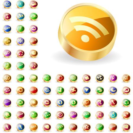 multi media: grande raccolta di pulsanti web.