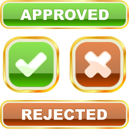 Approved and rejected buttons Stock Vector - 7066784