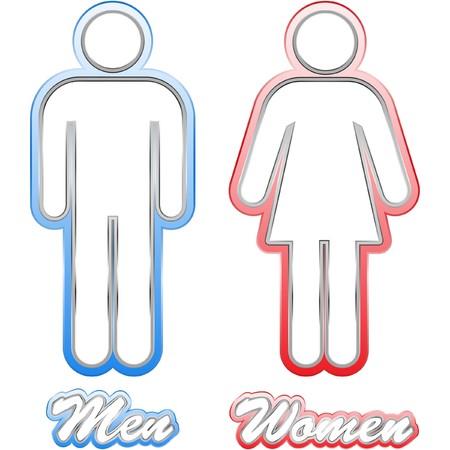 Men and women icon set. Vector
