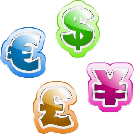dollar, euro, yen and pound signs.   Vector