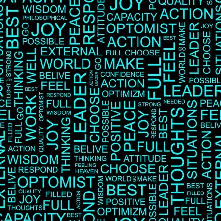 optimal: OPTIMISM. Seamless pattern with word cloud.   Illustration