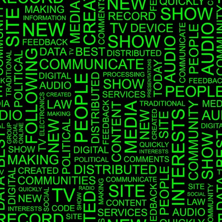 accessing: MEDIA. Seamless background. Wordcloud illustration.