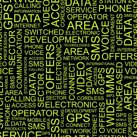 PHONE. Seamless pattern with word cloud.   Vector