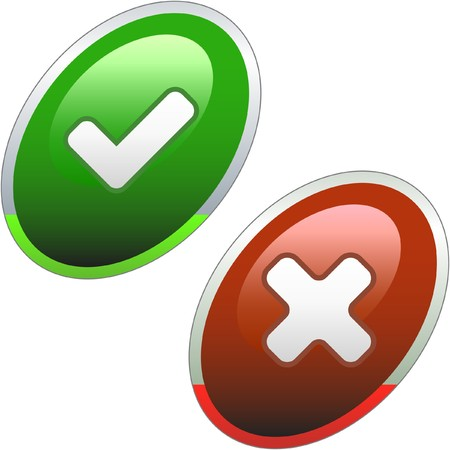 Approved and rejected buttons.  Vector
