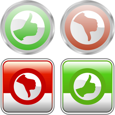 approbate: Approved and rejected icon set. Illustration