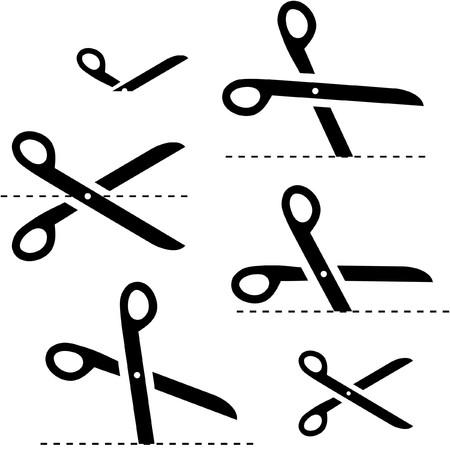 hyphen: forbici con linee di taglio   Vettoriali