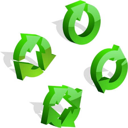 arow: Recycle symbol. 3d collection.