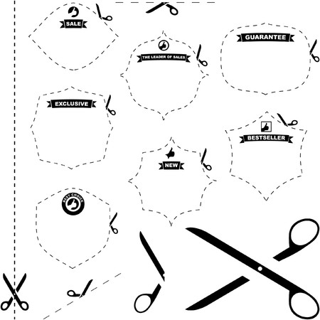 scissors with cut lines templates to choose from Stock Vector - 7128576