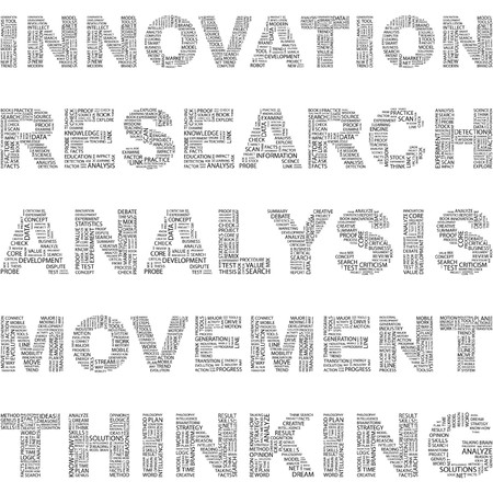 modernization: INNOVATION. Word collage on white background. illustration.    Illustration
