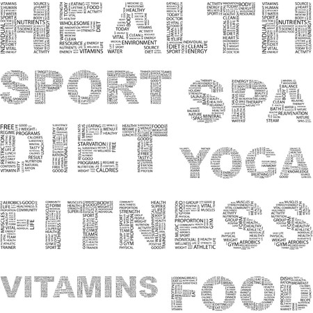optimum: HEALTH. Word collage on white background. illustration.    Illustration