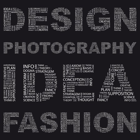 fashion designer: DESIGN. Illustration with different association terms in black background.