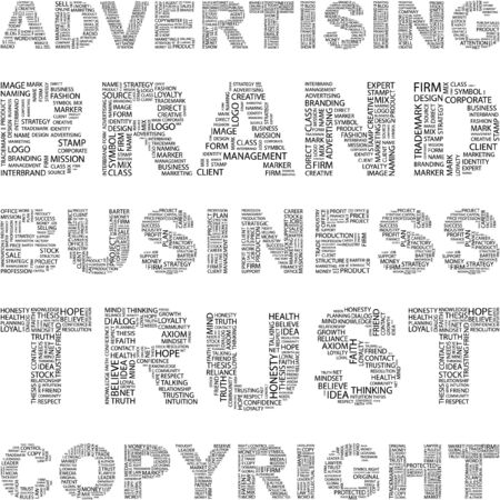 LA PUBLICIDAD. Collage de Word en blanco background.illustration.