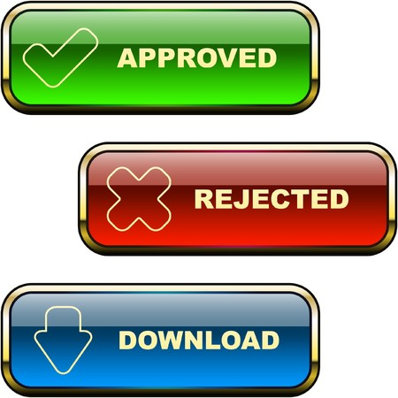 Approved and rejected button set. Stock Vector - 7128581