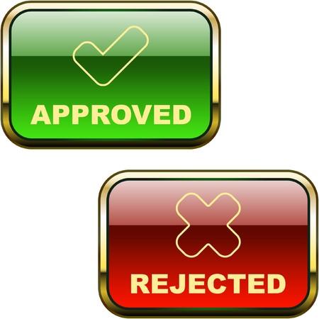 incorrecto: Botones aprobados y rechazados.