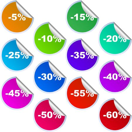 Discount label templates with different percentages   Stock Vector - 7128582