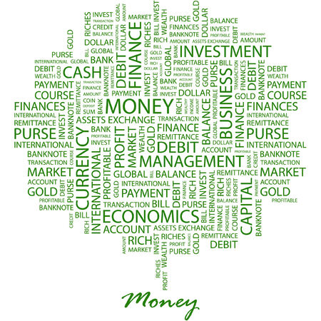 obligee: MONEY. Illustration with different association terms in white background.