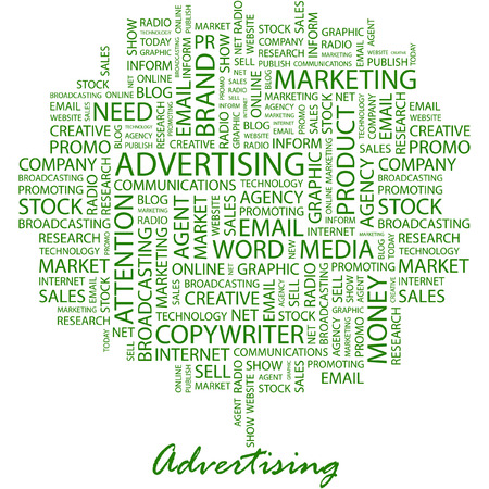 branded product: ADVERTISING. Illustration with different association terms in white background.