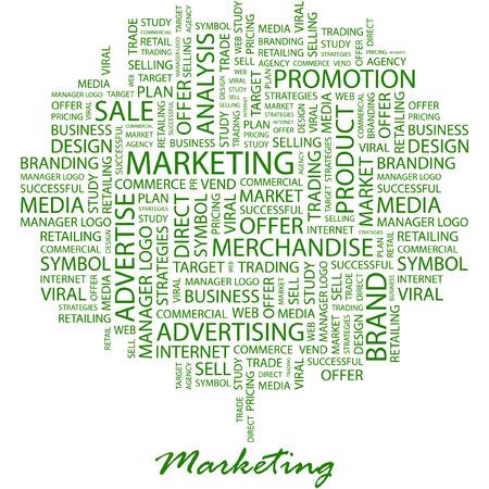 sales executive: DE MARKETING. Ilustraci�n con t�rminos de asociaci�n diferente en fondo blanco.