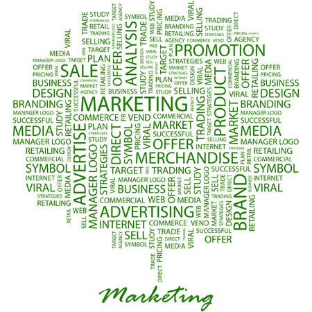more information: MARKETING. Illustration with different association terms in white background.