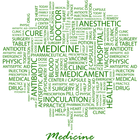 MEDICINE. Illustration with different association terms in white background. Vector